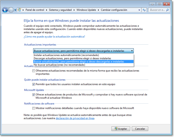 desactivar descarga Windows 10