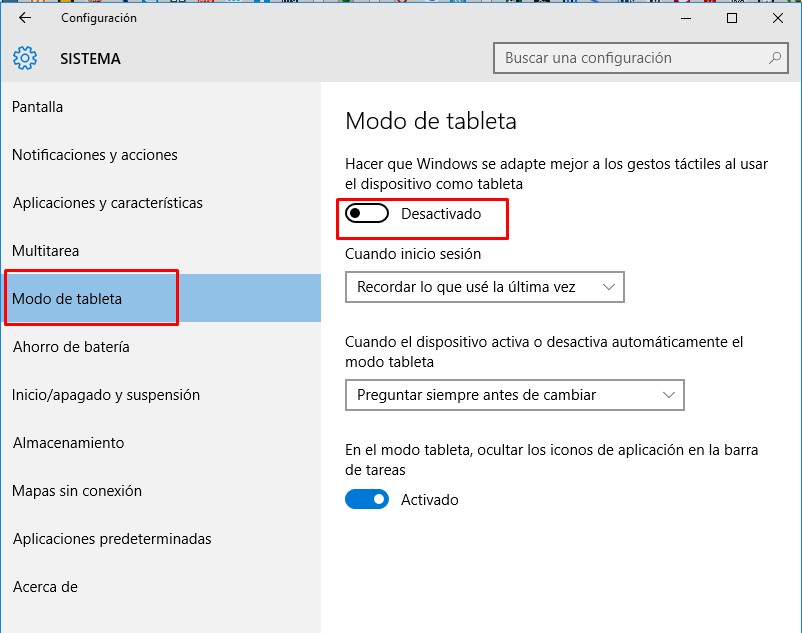activar modo tablet windows 10