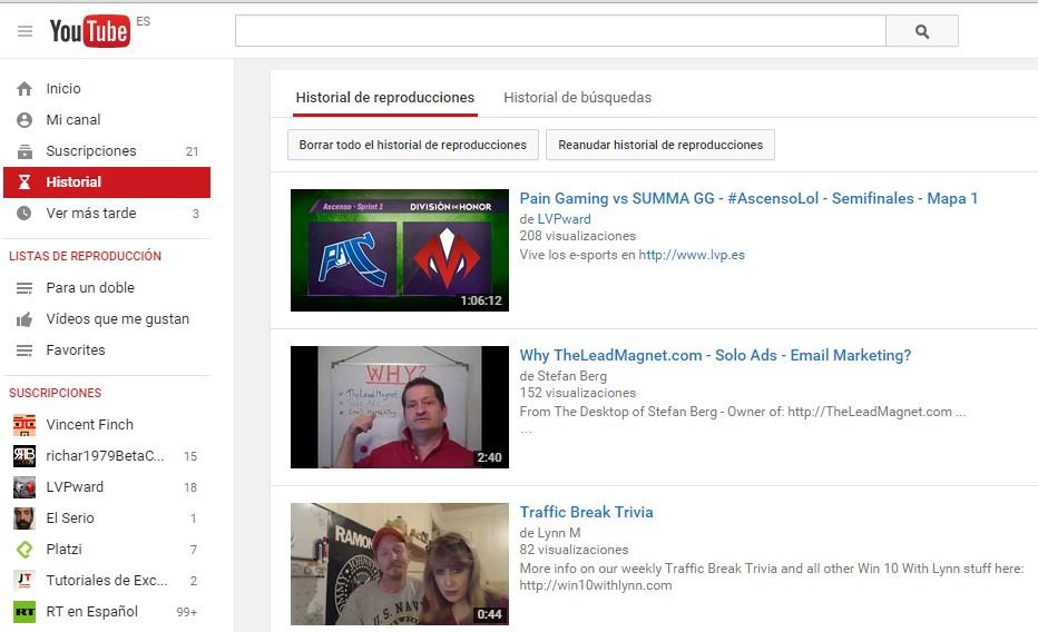 borrar historial youtube