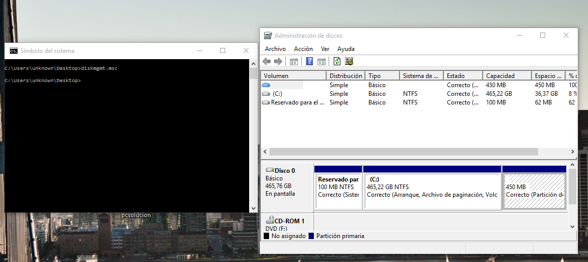 comando administrador de discos windows
