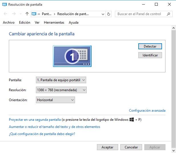 comando propiedades de pantalla