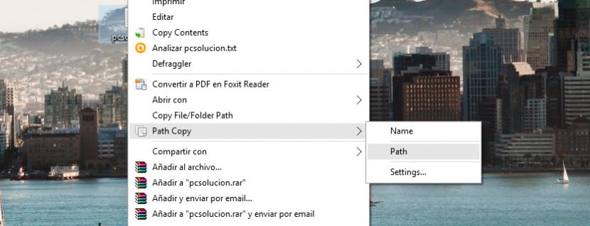 copiar ruta de archivo o carpeta