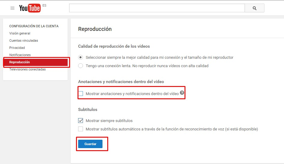desactivar anotaciones en youtube