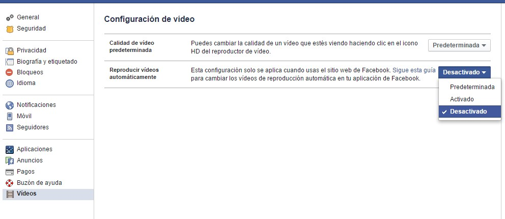 desactivar reproducción automática de vídeos facebook