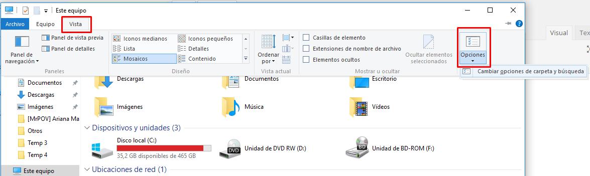 ver archivos ocultos windows 10