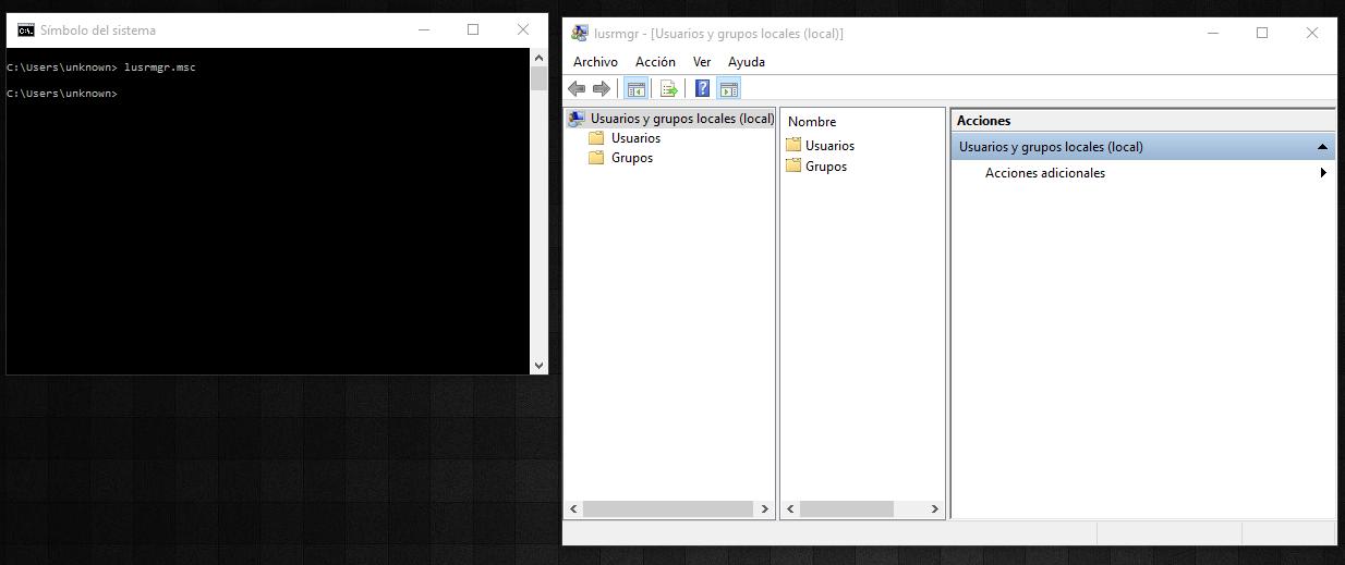 comando administrar usuarios y grupos en Windows