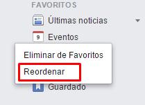ordenar favoritos facebook