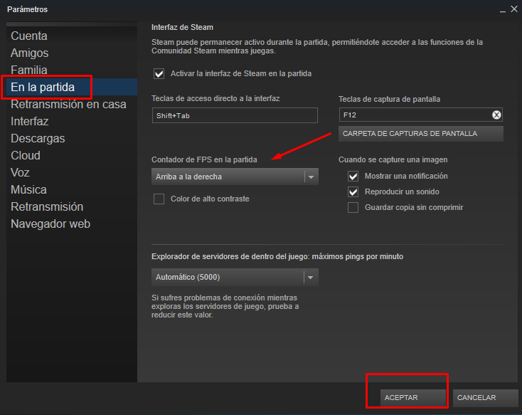 activar contador de  fps en steam