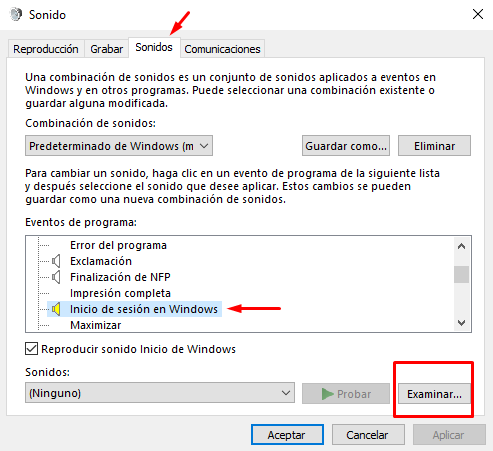 cambiar sonido de inicio en windows