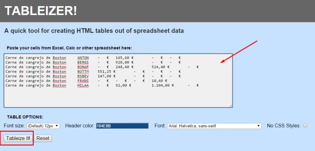 convertir excel a html