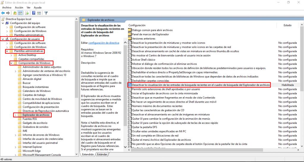 desactivar historial búsquedas en windows 10