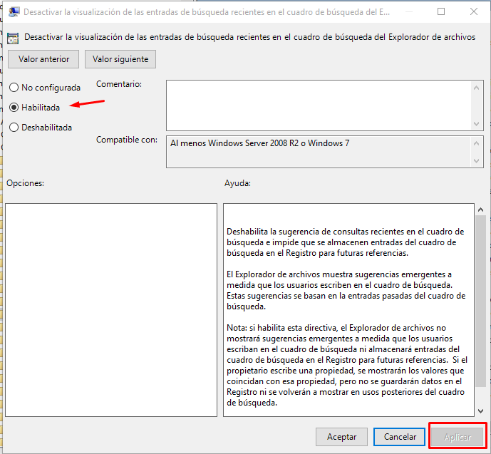 desactivar historial búsquedas windows 10