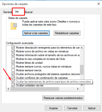 ocultar extemsión de archivos en windows 10