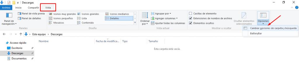 ocultar extemsión de archivos windows 10