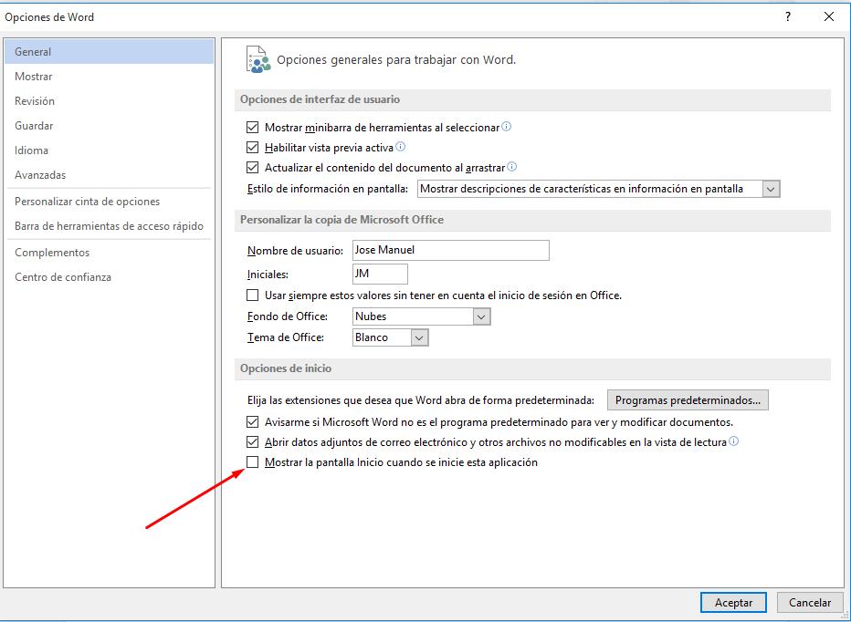 2-desactivar página inicial Office 2013
