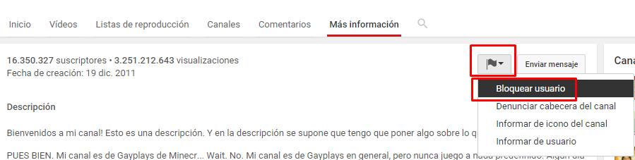bloquear cuenta youtube