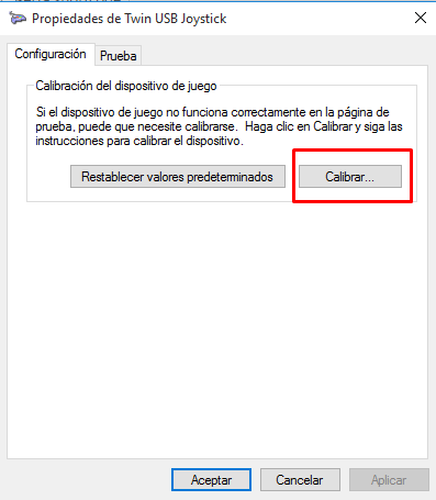 calibrar un gamepad en Windows 10