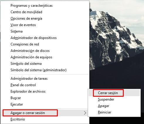 cerrar sesión de usuario en Windows 10