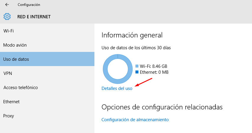 ver datos consumidos en windows 10