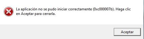 solucion error 0x000007b