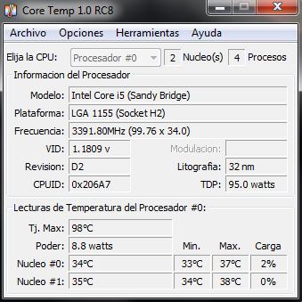 ver consumo vatios del procesador en windows