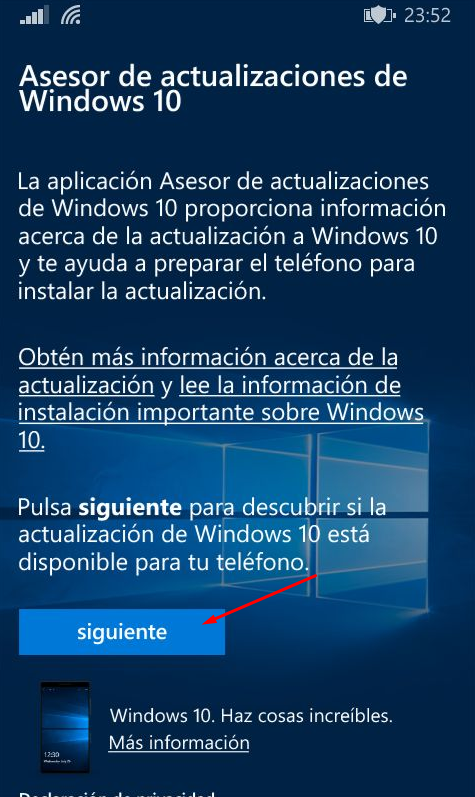actualizar a windows 10 mobile