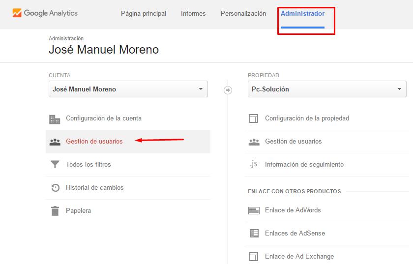 agregar usuario a google analytics
