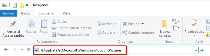 borrar historial imágenes de cuentas windows 10