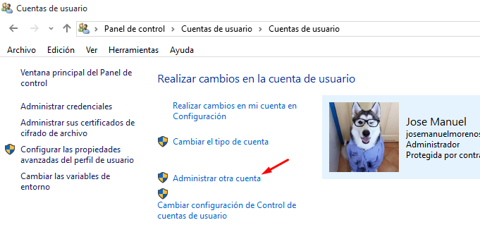 borrar usuario windows 10