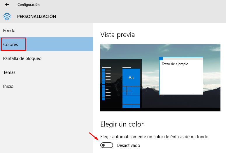 cambiar color menú de inicio windows 10