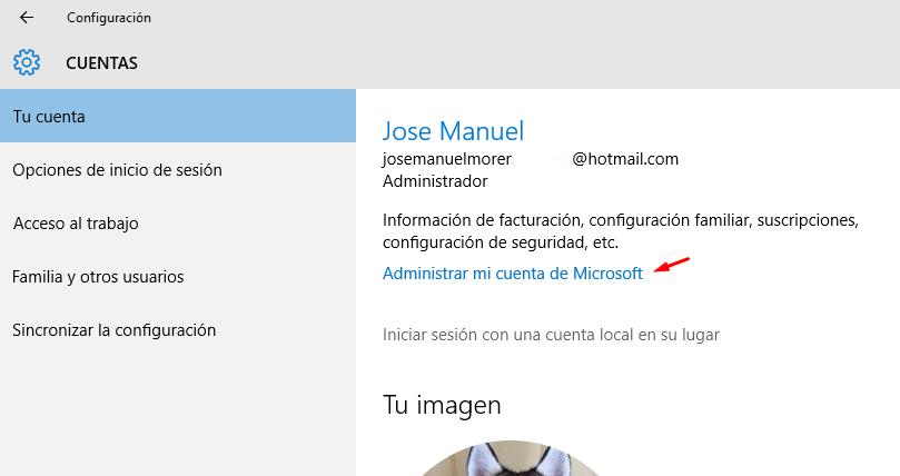 cambiar contraseña cuenta microsoft en Windows 10