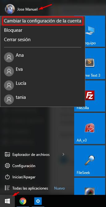 cambiar imagen de usuario en Winodws 10