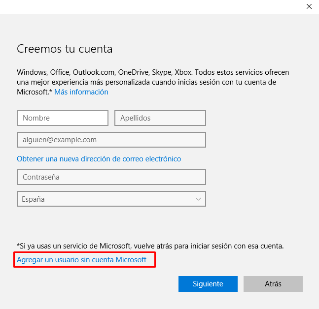 crear usuario windows 10+