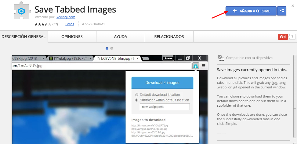 descargar todas la imágenes abiertas chrome