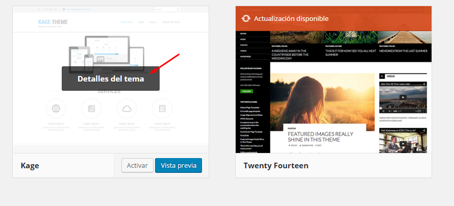 desinstalar tema de wordpress
