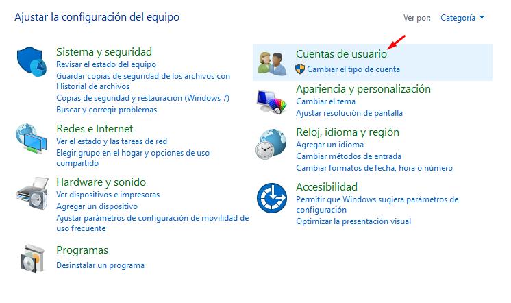eliminar cuenta en Windows 10