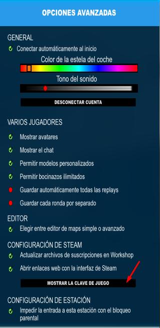 mostrar clave jugador trackmania 2 stadium