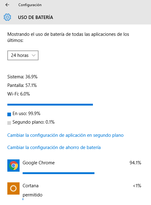 que aplicacion cnsume mas bateria en windows
