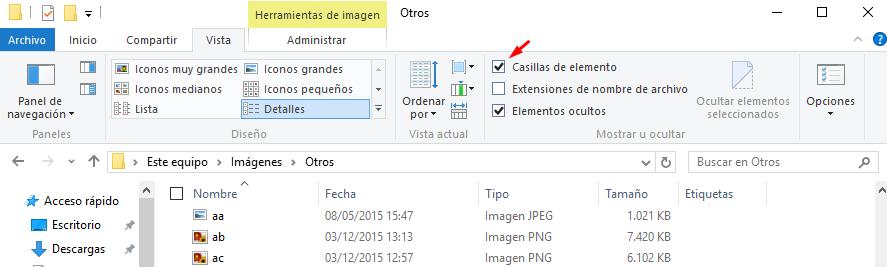 eliminar casilla en los archivos de windows