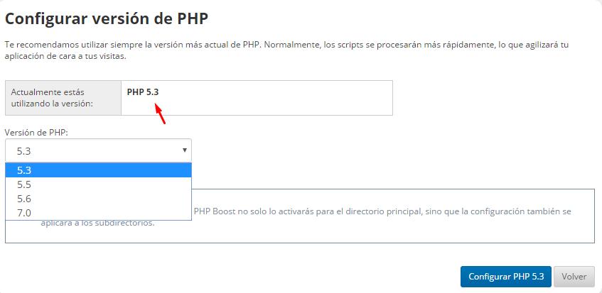 que version de php tengo en strato