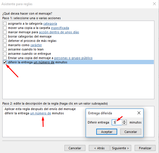 retrasar el envío de un correo electrónico en Outlook