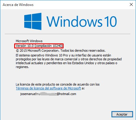 ver compilación y version de Windows 10