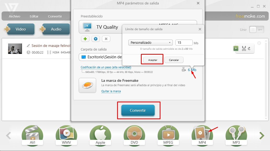 reducir tamaño video  correo