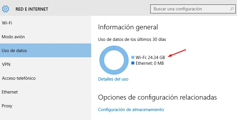 reiniciar uso de datos windows 10