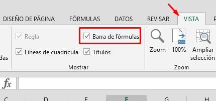 mostrar u ocultar barra de fórmulas en excel