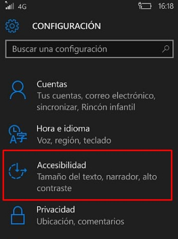aumentar tamaño texto windows phone