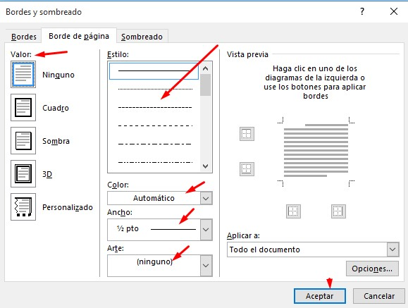 bordes de página en word