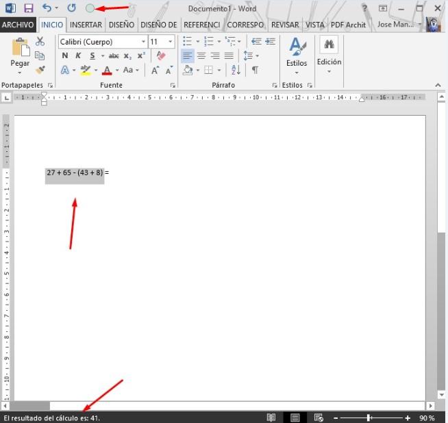 cómo activar calculadora en word