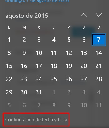 cambiar formato de fecha en Windows 10