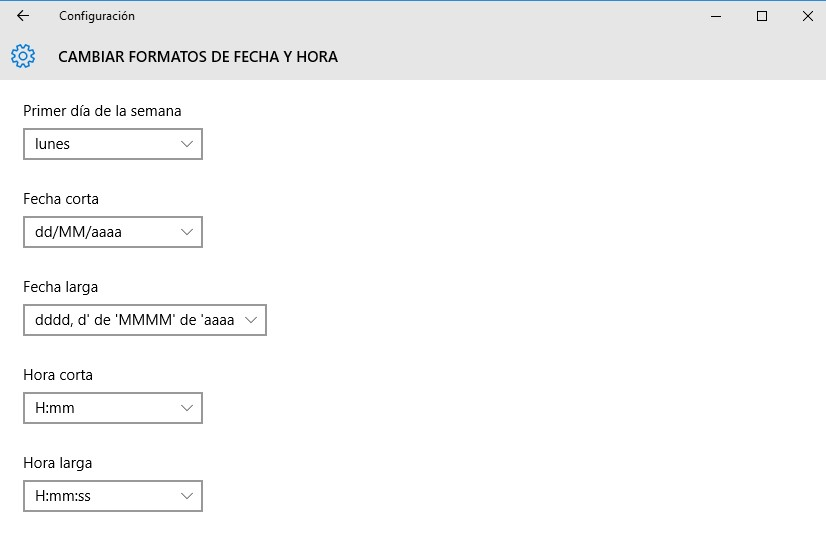cambiar formato de fecha y hora en Windows 10